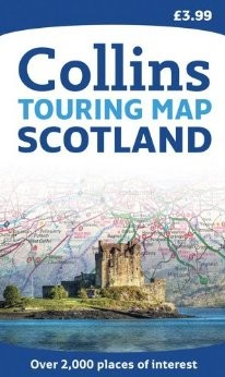 "Scotland ""Touring"" Road and Shaded Relief Map."