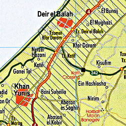 Israel Road and Physical Tourist Map, including Nature Reserves and National Parks.