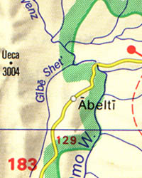 Ethiopia, Eritrea, and Djibouti, Road and Tourist Map.