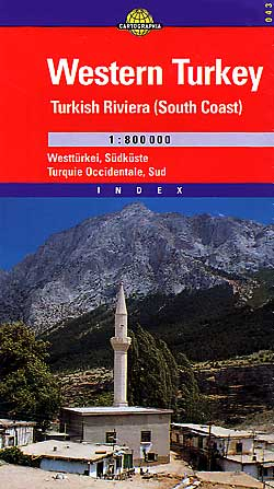 Turkey, Western, Road and Shaded Relief Tourist Map.