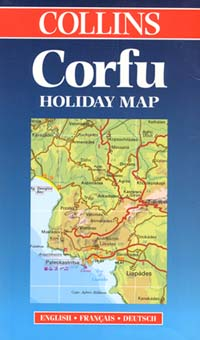 "Corfu Island, Road and Shaded Relief ""Holiday"" Map, Greece."