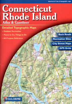 Rhode Island and Connecticut, Road, Topographic, and Shaded Relief Tourist ATLAS and Gazetteer, America.