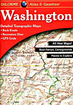 Washington State, Road, Topographic, and Shaded Relief Tourist ATLAS and Gazetteer, America.