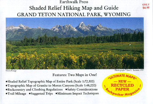 Grand Teton National Park, Road and Recreation Map (Hiking), Wyoming, America.