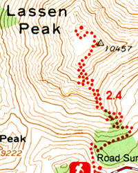 Lassen Volcanic National Park, Road and Recreation Map, California, America.