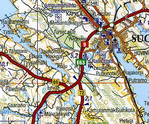 Finland (GT 05 Jyvaskyla-Mikkeli) Road and Tourist Map.