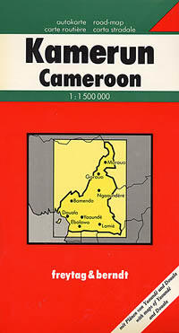 Cameroon Road and Shaded Relief Tourist Map.