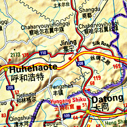 China and MONGOLIA, Road and Shaded Relief Tourist Map.