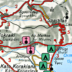 Corfu Island, Road and Shaded Relief Tourist Map, Greece.
