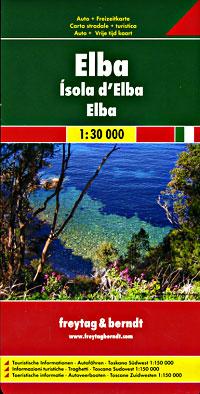 Elba Island Road and Topographic Tourist Map.