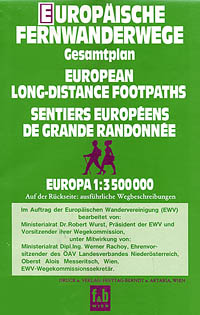 "Europe Long Distance ""FOOTPATHS"" Road and Shaded Relief Tourist Map."