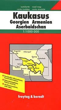 Caucasus Region: Georgia Republic, Armenia, and Azerbaijan, Road and Shaded Relief Tourist Map, Caucasus Mountains.