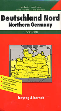 Germany, Northern, Road and Shaded Relief Tourist Map.