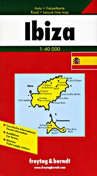 Ibiza Island, Road and Tourist Travel Map, Balearic Isles, Spain.