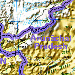 India Road and Shaded Relief Tourist Map.