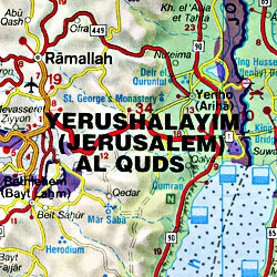 Jordan Road and Shaded Relief Tourist Map.