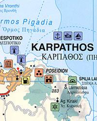 Karpathos Island, Road and Tourist Map, Greece.