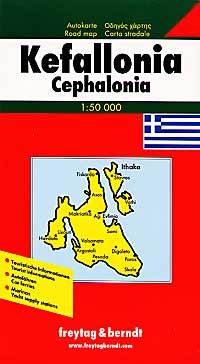 Kefallonia and Ithaca Islands, Road and Physical Tourist Map, Greece.