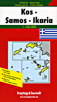 Kos, Samos, and Ikaria, Road and Shaded Relief Tourist Map.