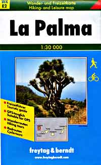 La Palma Island, Road and Shaded Relief Tourist HIKING Map, Canary Islands, Spain.