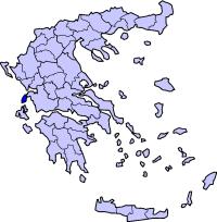 Lefkada Island, Road and Tourist Map, Greece.