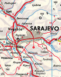 Macedonia and Serbia, Road and Shaded Relief Tourist Map.