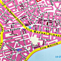 Malta and Gozo Islands, Road and Shaded Relief Tourist Map, Mediterranean.