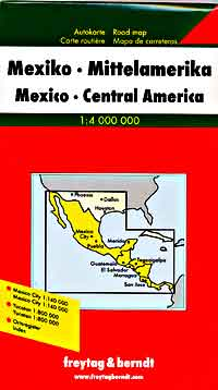 Mexico, Road and Shaded Relief Tourist Map.