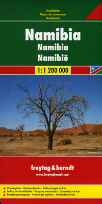 Namibia Road and Shaded Relief Tourist Map.