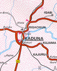Nigeria Road and Shaded Relief Tourist Map.