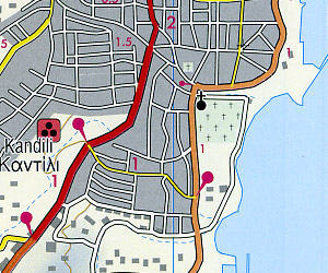 Rhodes Island, Road and Shaded Relief Tourist Map, Greece.