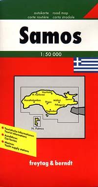 Samos Island Road and Tourist Map, Greece.