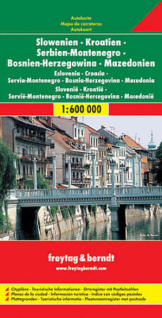 Slovenia, Croatia, Serbia, Bosnia-Herzegovina, Montenegro, Macedonia Road and Tourist Map.