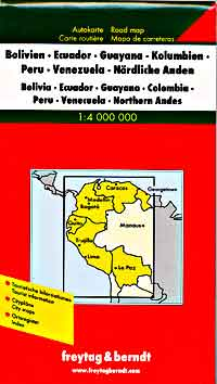 South America, NORTH WEST, Road and Shaded Relief Tourist Map.