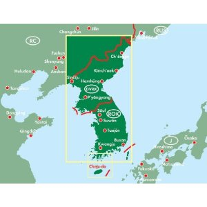South Korea and North Korea Road and Shaded Relief Tourist Map.