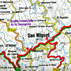 Tenerife Island, Road and Topographic HIKING Map, Canary Islands, Spain.