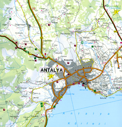 Turkey Riviera, Antalya, Side, Alanya, Road and Shaded Relief Tourist Map.