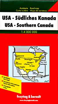 United States, Southern Canada, and Northern Canada, Road and Shaded Relief Tourist Map.