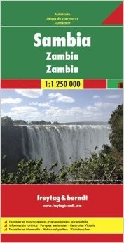 Zambia Road and Shaded Relief Tourist Map.