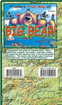 Big Bear Road and Recreation Map, California, America.