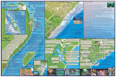 Cancun and Riviera Maya Guide Road and Recreation Map, Mexico.