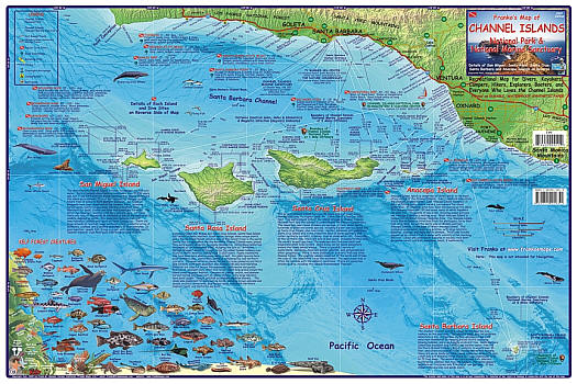 Channel Islands National Park, Road and Recreation Map, California, America.