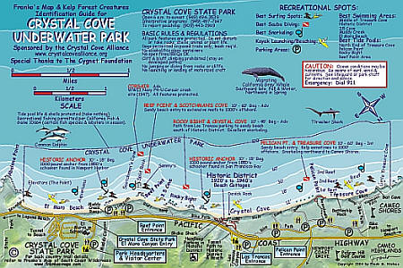 Crystal Cove Underwater Park, Road and Recreation Map, California, America.