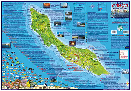 Curacao Guide and Dive Road and Recreation Map.