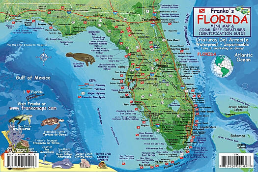 Florida State Reef Guide, Road and Recreation Map, Florida, America.