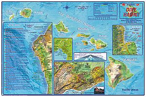 Hawaii, The Big Island, Dive Road and Recreation Map, Hawaii State, America.