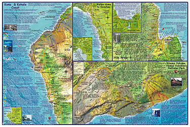 Hawaii, The Big Island, Guide Road and Tourist Map, Hawaii State, America.