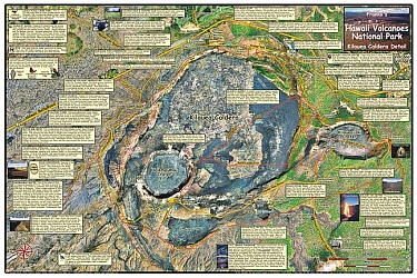 Hawaii Volcanoes National Park, Road and Recreation Map, Hawaii, The Big Island, Hawaii State, America.