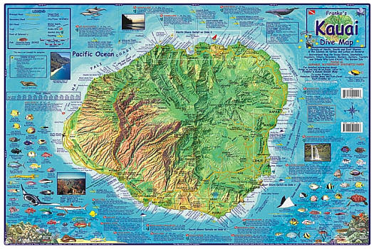 """Kauai Diving Road and Recreation Map, Hawaii, America. """"Various scales"""". Size 14""""x21"""". Franko maps edition. Laminated."""