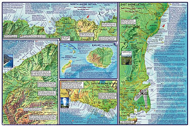 """Kauai Guide Road and Recreation Map, Hawaii, America. """"Various scales"""". Size 14""""x21"""". Franko maps edition. Laminated."""